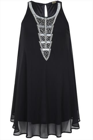 Black Chiffon Sleeveless Tunic With Silver Embellishment