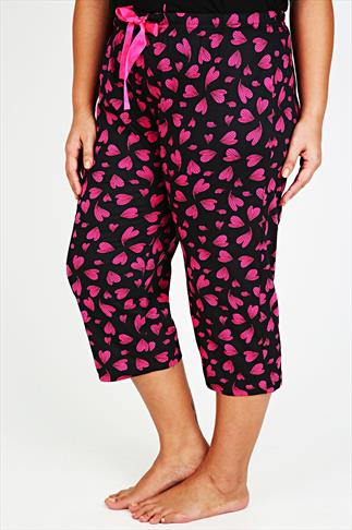 Black & Pink Heart Print Cropped Pyjama Bottoms