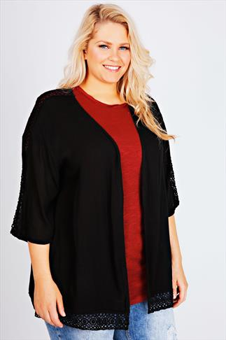 Black Crinkle Kimono With Lace Trim Detail