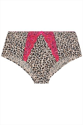 Animal Print Shorts With Pink Lace Detail