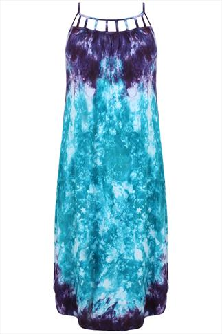 Purple And Turquoise Tie Dye Midi Dress With Cut Out Detail