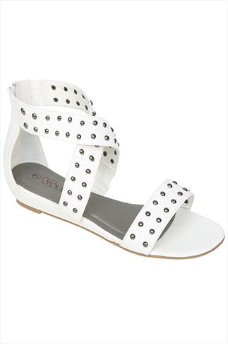 White Studded Gladiator Style Low Wedge Sandals In EEE Fit
