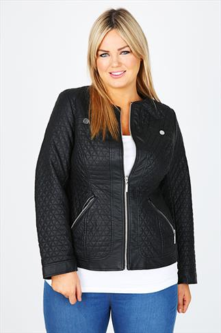 Black PU Quilted Jacket With Silver Trims