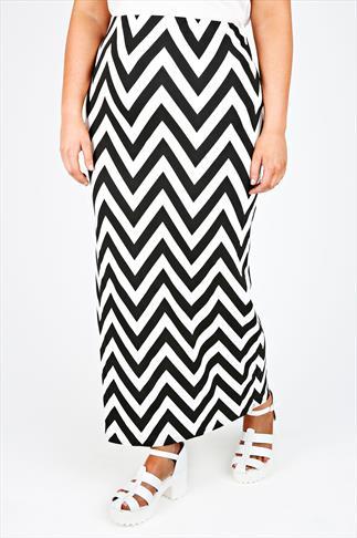 Black & White ZigZag Print Skirt With Elasticated Waist