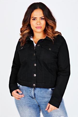 Black Denim Jacket With Long Sleeves