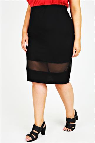 Black Pull On Tube Skirt With Mesh Panel