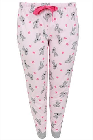 Pale Pink & Grey Dog Print Pyjama Bottom With Grey Cuffs