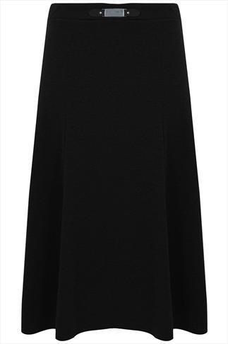 Black Buckle Waist Panelled Skirt