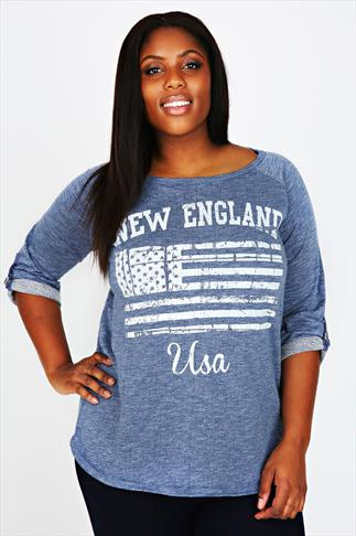 Blue Marl Textured New England Sweatshirt