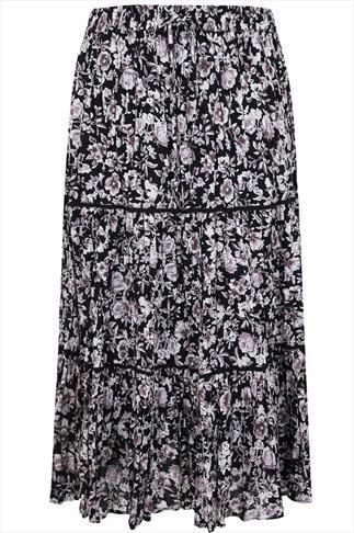 Black & Purple Floral Voile Maxi Skirt With Crochet Detail