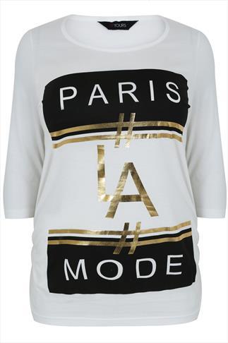 "White ""Paris LA Mode"" Print Top With 3/4 Length Sleeves"