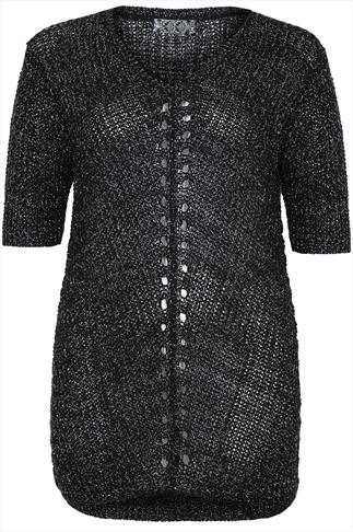 Black Loose Knit Longline Top With Silver Thread Detail
