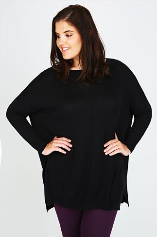 Black Longline Batwing Slouch Jumper With Side Slits