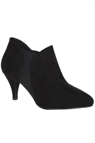 Black Suedette Slip On Shoe Boots In EEE Fit