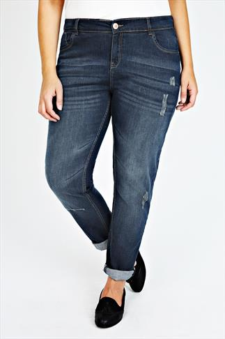 Indigo Slouch Boyfriend Roll Up Jeans With Fading & Rip Detail