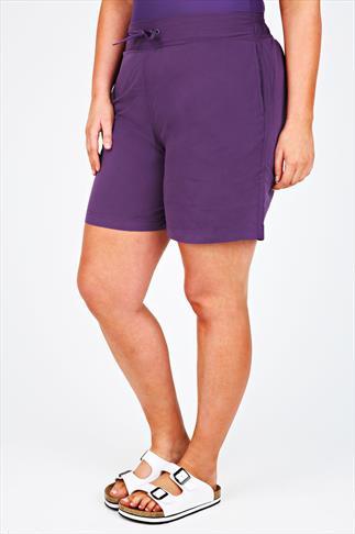 Purple Board Shorts With Drawstring Waist
