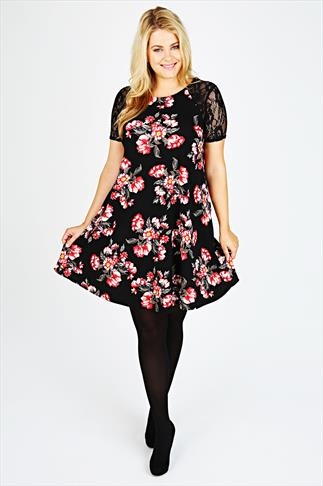 Black & Red Rose Print Textured Swing Dress With Lace Sleeves