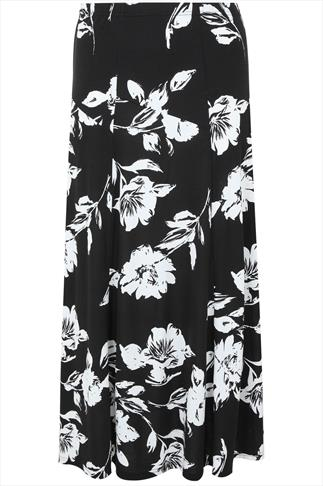 Black & White Floral Jersey Maxi Skirt With Abstract Panel Detail