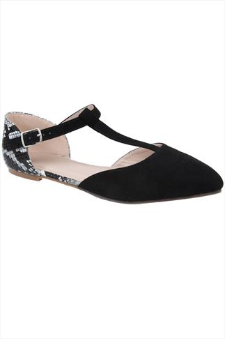 Black Snake Print Ankle Strap Pointed Toe Shoe In Wide Fit