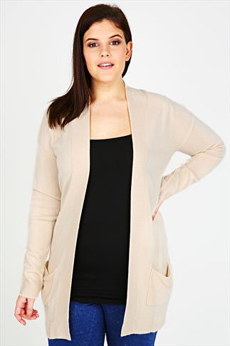 Cream Edge to Edge Supersoft Knitted Cardigan With Pockets & Ribbing