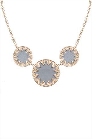 Grey PU Star Detail Disc Necklace