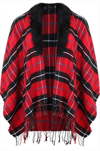 Red And Black Tartan Wrap With Detachable Fur Collar