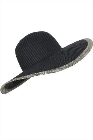 Black Aztec Print Straw Paper Hat