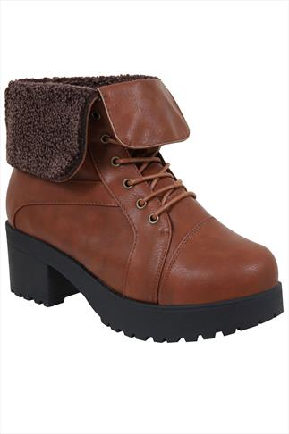 Brown Lace Ankle Boot With Cleated Heel  In EEE Fit