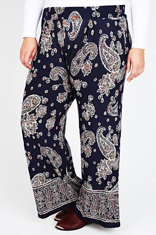 Navy Paisley Print Wide Leg Trousers