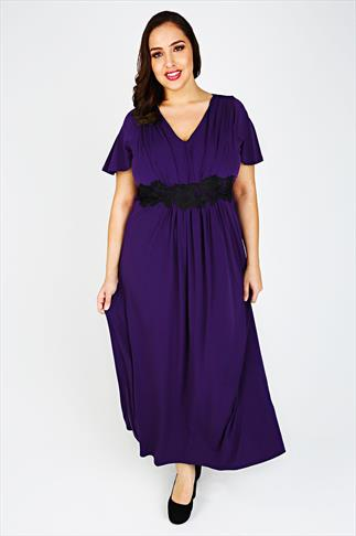 Purple Maxi Dress With Waist Embroidery
