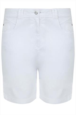 White Twill Denim Shorts