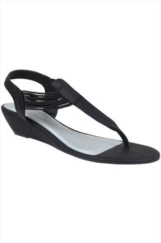 Black Low Wedge Elasticated Toe Post sandal In EEE Fit
