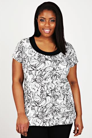 White & Black Floral Print Deep Band Tee