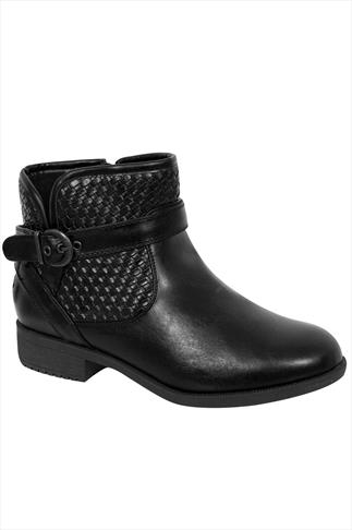 Black PU Ankle Boot With Buckle Detail In EEE Fit