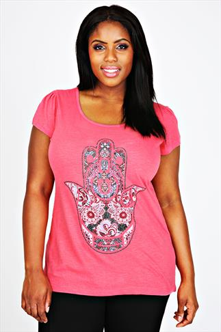 Watermelon Short Sleeve Top With Hand Placement Print