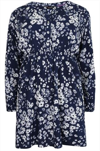 Navy & White Floral Print Tunic With Pintuck Detail