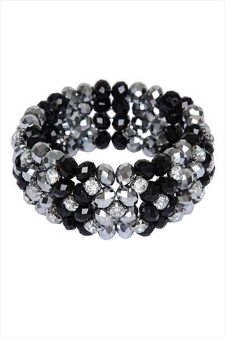 Black And Silver Glass Bead Cluster Stretch Bracelet