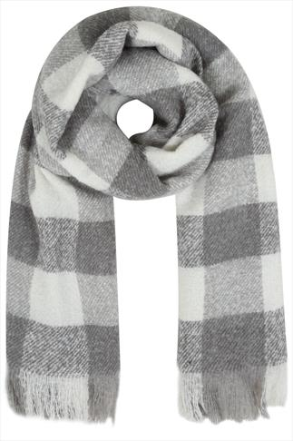 Grey and White Check Scarf