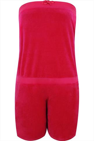 Pink Strapless Velour Pull On Playsuit With Crown Detail