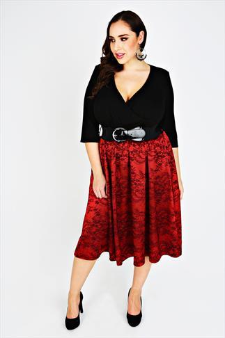 SCARLETT & JO Black & Red Jacquard Prom Dress