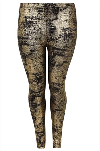 Black & Gold Foil Print Leggings