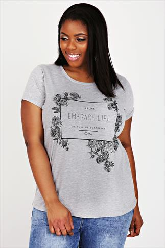 Grey Marl Short Sleeve Floral Print Slogan T-shirt