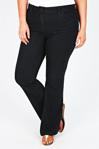 Black Bootcut Jeans With Stitch Detail - PETITE