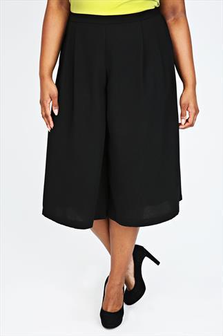 Black Crepe Elastic Culotte