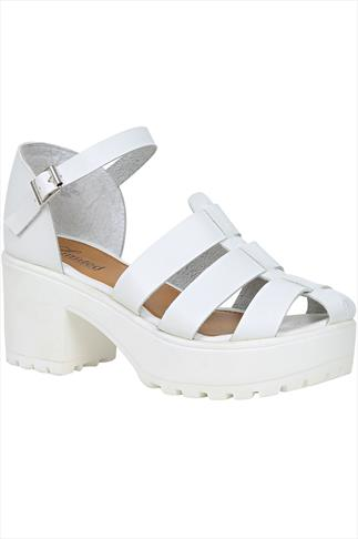 White Platform Gladiator Wide Fit Sandals