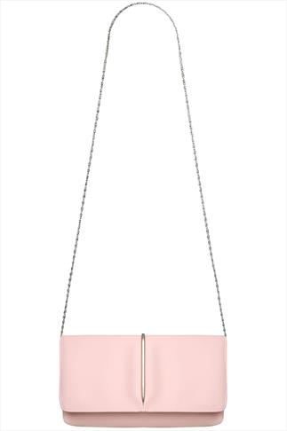 Nude Pink Clutch With Metal Trim Detail And Detachable Chain