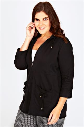 Black Zip Up Cotton Mix Hoodie With Toggles & Roll-Up Sleeves