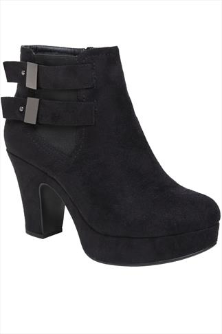 Black Suedette Platform Ankle Boots With Buckles In EEE Fit