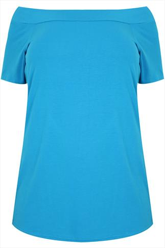 Turquoise Stretch Jersey Bardot Top With Short Sleeves