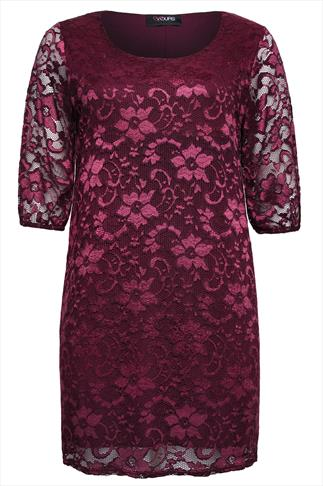 Burgundy Floral Stretch Lace Shift Dress With 3/4 Sleeves